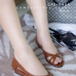 พร้อมส่ง รองเท้าส้นเตี้ย C02-042A-BWN [สีน้ำตาล]