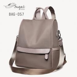 กระเป๋าเป้ผู้หญิงสะพายแบบน่ารัก สะพายได้หลายแบบ BAG-057-เทา (สีเทา)