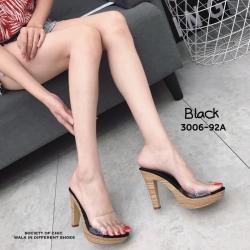 รองเท้าส้นสูงเปิดส้นสีดำ ส้นไม้ หน้าใส LB-3006-92A-BLK