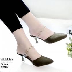 รองเท้าส้นสูงสีเขียว ส้นทรงแก้วไวน์ LB-10186-เขียว