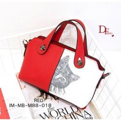 กระเป๋าสะพายแฟชั่น กระเป๋าสะพายไหล่ ประดับอะไหล่โลหะ min min [สีแดง ]