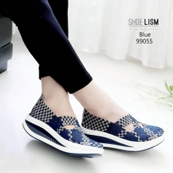 รองเท้าผ้าใบยางยืดสีน้ำเงิน 99055-น้ำเงิน