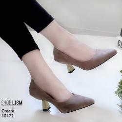 รองเท้าส้นสูงปราด้าสีครีม LB-10172-ครีม