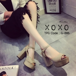 พร้อมส่ง รองเท้าส้นตันรัดส้นสีแอปริคอท ผ้าสักหราด แมทส์กับชุดได้ง่าย แฟชั่นเกาหลี [สีแอปริคอท ]