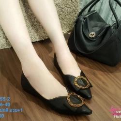 พร้อมส่ง รองเท้าคัชชูส้นเตี้ย 555-2-BLK [สีดำ]