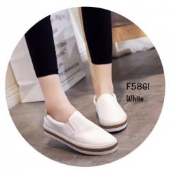 พร้อมส่ง รองเท้าผ้าใบหนังอย่างดี F58G1-WHI [สีขาว]