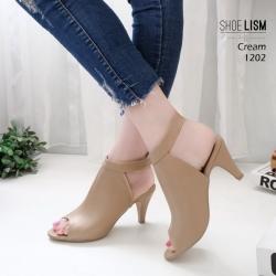 รองเท้าส้นสูงหน้าเต็มสีครีม งานสไตล์ปราด้า รัดข้อ LB-1202-ครีม