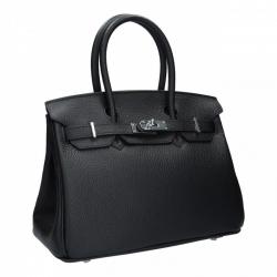 กระเป๋าถือ กระเป๋าออกงาน งานหนังแท้ เสริมลุคให้ดูหรู ดูแพง BIRKIN 25 cm. [สีดำ ]