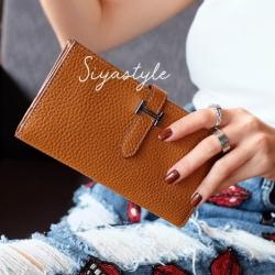 พร้อมส่ง กระเป๋าตังค์ผู้หญิง Wallet leather [สีส้ม]