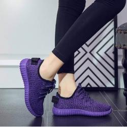พร้อมส่ง รองเท้าผ้าใบแฟชั่นสีม่วง ผ้ายืด ระบายอากาศได้ดี พื้นนิ่ม แฟชั่นเกาหลี [สีม่วง ]