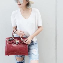กระเป๋าครัช กระเป๋าถือ Birkin Toy [สีแดง]