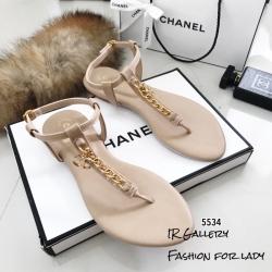รองเท้าแตะวัสดุหนังนิ่มแบบคีบสีครีม Style 5534-ครีม
