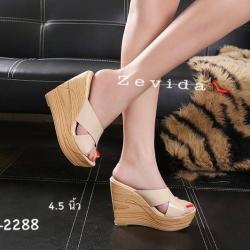 พร้อมส่ง รองเท้าส้นเตารีด สไตล์เกาหลี 17-2288-CRM [สีครีม]