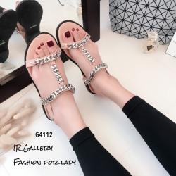 รองเท้าแตะโซ่คาดหน้า G4112-ครีม (สีครีม)