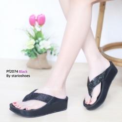 พร้อมส่ง รองเท้าเพื่อสุขภาพ ฟิทฟลอปหนีบ PF2074-BLK [สีดำ]