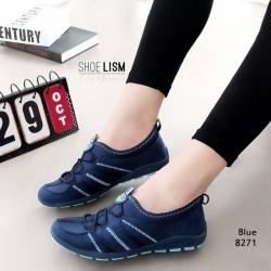 รองเท้าผ้าใบยางยืดสีน้ำเงิน ผ้ายืดเงา เบาสบาย 8271-น้ำเงิน