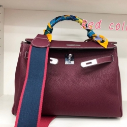 พร้อมส่ง กระเป๋าสะพายข้างผู้หญิง Kelly 32 cm [สีแดงเข้ม]
