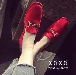 พร้อมส่ง รองเท้าคัทชูส้นแบนสีแดง ผ้าสักหราด น้ำหนักเบา แฟชั่นเกาหลี [สีแดง ]