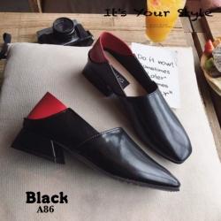 พร้อมส่ง รองเท้าคัทชูแฟชั่นสีดำ หนังนิ่ม ใส่ทับส้นได้ แฟชั่นเกาหลี [สีดำ ]