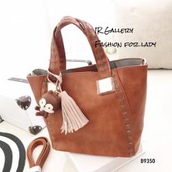 กระเป๋าสะพายแฟชั่น กระเป๋าสะพายข้างผู้หญิง นังนิ่มคุณภาพพรีเมี่ยมงานสวยเหมือนหนังแท้ ดีไซน์สไตล์เกาหลี ไซส์ M [สีน้ำตาล ]
