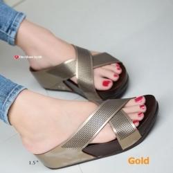 รองเท้าแตะเพื่อสุขภาพ พื้นยาง Slide Fitness Style [สีทอง ]
