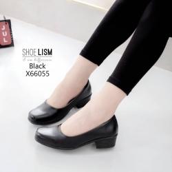 รองเท้าคัชชูสีดำ แบบสุภาพเรียบร้อย X66055-ดำ