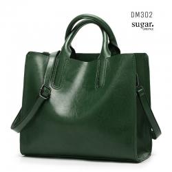 กระเป๋าสะพายผู้หญิงหนังอยู่ทรง มีแบบหนังเงาและหนังด้าน DM302-เขียว (สีเขียว)
