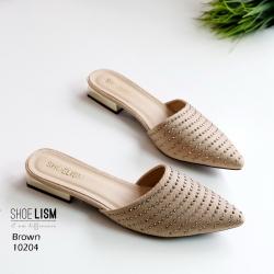 รองเท้าส้นเตี้ยสีน้ำตาล ซาร่าห์หน้าเรียว ส้นทอง LB-10204-น้ำตาล