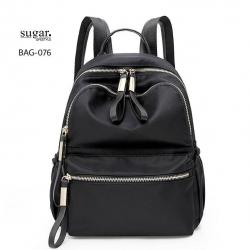 กระเป๋าเป้ผู้หญิงผ้าไนล่อนหนา ดีไซน์น่ารัก BAG-076-ดำ (สีดำ)