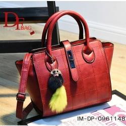 กระเป๋าถือแฟชั่น กระเป๋าสะพายผู้หญิง ประดับอะไหล่รมดำ [สีแดง ]