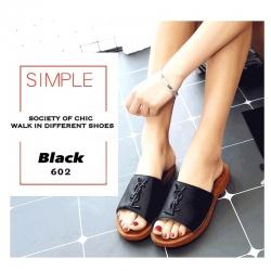 รองเท้าแตะผู้หญิงสีดำ สไตล์YSL sandals LB-602-BLK