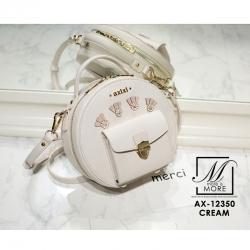 กระเป๋าสะพายกระเป๋าถือ แฟชั่นนำเข้าทรงกลม AX-12350-CRM [สีครีม]