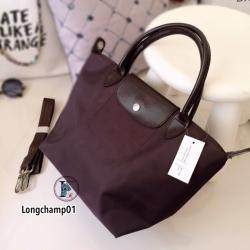 กระเป๋าถือ กระเป๋าสะพายข้างผู้หญิง งานพรีเมี่ยม แบบชนช้อป วัสดุไนล่อน Longchamp [สีน้ำตาล ]