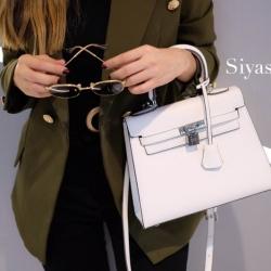 พร้อมส่ง กระเป๋าสะพายข้างผู้หญิง Kelly size 25 cm [สีขาว]