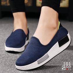 พร้อมส่ง รองเท้าผ้าใบเสริมส้นสีน้ำเงิน ผ้ายืดทอ ด้านหลังบุนิ่มใส่สบายไม่กัดเท้า แฟชั่นเกาหลี [สีน้ำเงิน ]
