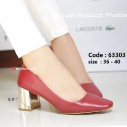 พร้อมส่ง รองเท้าคัทชูส้นตันสีแดง แต่งเมทาลิกสีทอง Chunky Shoes แฟชั่นเกาหลี [สีแดง ]