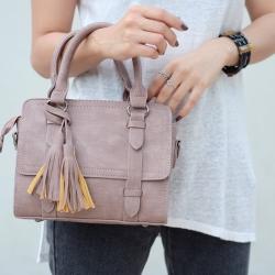 กระเป๋าถือ กระเป๋าสะพายข้างผู้หญิง งานหนังพียู แต่งภู่ [สีนู๊ด ]