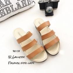 รองเท้าแตะลำลองวัสดุหนังนิ่ม คาด3 สาย 961-59-ตาล (สีน้ำตาล)