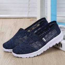 พร้อมส่ง รองเท้าผ้าใบลูกไม้สีน้ำเงิน พื้นสุขภาพ ผ้าลูกไม้โปร่งใส่สบาย แฟชั่นเกาหลี [สีกรม ]