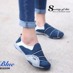 พร้อมส่ง รองเท้าผ้าใบแฟชั่นสีน้ำเงิน ไร้เชือก สไตล์ Sport Girls แฟชั่นเกาหลี [สีน้ำเงิน ]