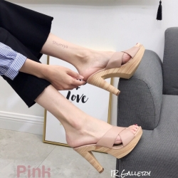 รองเท้าแตะส้นสูงแบบสวมไขว้ 3006-5-ชมพู (สีชมพู)