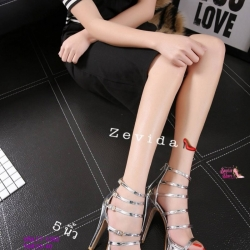 พร้อมส่ง รองเท้าส้นสูง วัสดุหนังแววเงา 17-1283-SIL [สีเงิน]