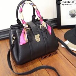 กระเป๋าสะพายแฟชั่น กระเป๋าสะพายข้างผู้หญิง มีผ้าพันคอพันสายกระเป๋า stye Hermes [สีดำ ]