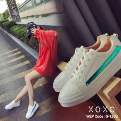 พร้อมส่ง รองเท้าผ้าใบคาดข้างเมทัลลิค G-1202-GRN [สีเขียว]