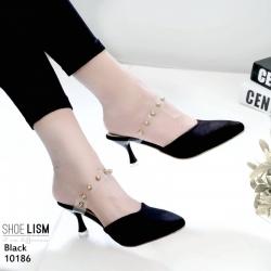 รองเท้าส้นสูงสีดำ ส้นทรงแก้วไวน์ LB-10186-ดำ