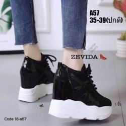 รองเท้าผ้าใบเสริมส้นสีดำ รองเท้าผ้าใบเสริมส้นสูง2นิ้ว