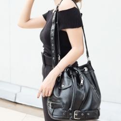 กระเป๋าสะพายแฟชั่น กระเป๋าสะพายข้างผู้หญิง ทรงขนมจีบ ปรับสายได้หลายขั้น [สีดำ ]
