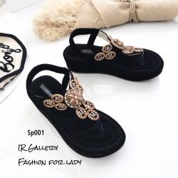 รองเท้าลำลองแบบคีบสีดำ วัสดุหนังนิ่ม SP001-ดำ