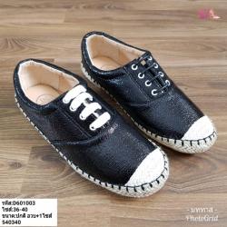 พร้อมส่ง รองเท้าผ้าใบสวม สไตล์ลิปออน D601003-BLK [สีดำ]