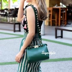 กระเป๋าสะพายแฟชั่น กระเป๋าสะพายข้างผู้หญิง Fendi candy stud [สีเขียว]